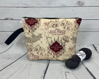 Harry Potter Marauders Map project bag for knitting and crochet