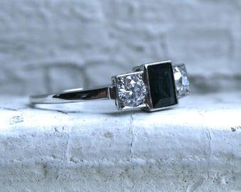 Vintage Sapphire and Diamond Three Stone Ring in Platinum - 1.30ct.