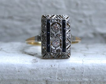 Sweet Pave Diamond and Sapphire Cluster Ring in 18K Yellow Gold - 0.79ct.