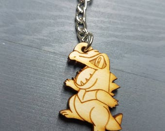 Totodile Pokemon Keychain | Laser Cut Jewelry | Wood Accessories