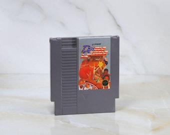 Vintage Nintendo Game Double Dribble Game, Konami, 1986, Basketball, Super Basketball, Slam Dunk, National Anthem, Nintendo, NES Game