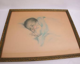 Antique Bessie Pease Gutmann A Little Bit of Heaven Lithograph Baby Print Original Painting Framed Hand Color Nursery Decor