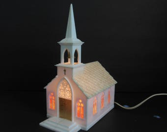Christmas Light Up Church Cream Colored Plastic Cathedral with Stained Glass Windows and Bell