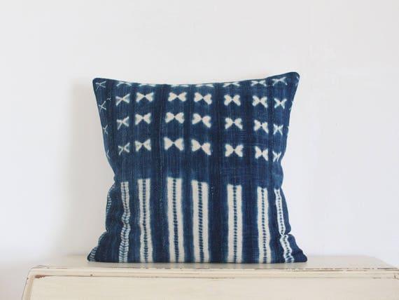 "Vintage indigo shibori African mudcloth pillow cushion cover 20"" x 20"""