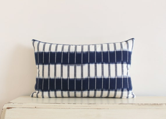 "Handwoven striped blue and cream ikat pillow / cushion cover 12"" x 20"""