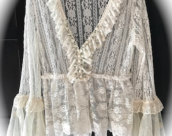 Gothic Romance Lace Baroque Pirate Shirt Elegant Rustic Beauty Size Med/Large