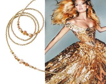 EYEWEAR HOLDER, Gold metallic lustre and gold, Cheap Shipping, beaded glasses holder, glasses chain, sunglasses holder, eyewear chain