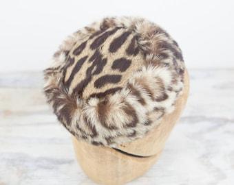 Vintage Fur w/ leopard pattern pill box hat byAmy New York