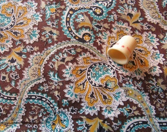 gold, turquoise and brown print vintage cotton fabric piece