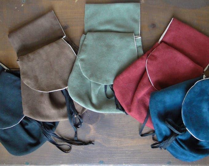Renaissance Belt Bag, Faux Suede Fabric, Womens Medieval Purse - Choose Your Color!
