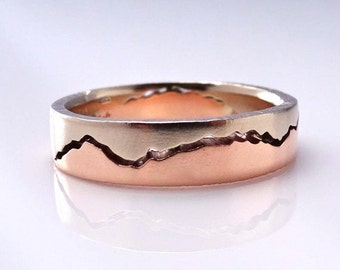 Mixed Gold Mountain Ring, 8mm band, Handmade with recycled Rose Gold & Palladium White Gold, Wedding Band, Mountain Wedding, Outdoor couple