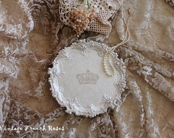 French Crown Ornate Wine Coaster Champagne Cream Metallic Round Tray Vintage Romantic Wedding Shower French Country ShabbyChic Cottage Style