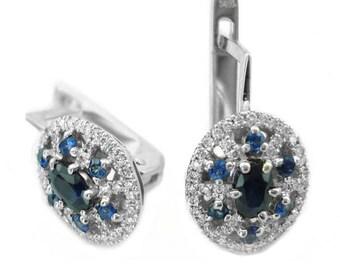 Sapphire Earrings, Diamond and Sapphire Earrings, Bridal Earrings, Lever Back Diamond Earrings, Wedding Earrings, Fast Free Shipping