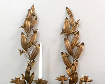 Vintage Gold Gilt Tole Candle Wall Sconces Rococo Style Paris Apartment Decor