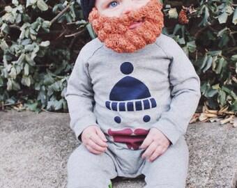 CROCHET PATTERN ONLY Lumberjack Bearded Beanie Pattern, Crochet Beard, Hipster Baby Beanie, Baby Hat With Beard, Hipster Beanie Hat, Pattern