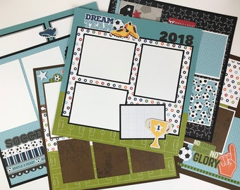 12x12 Soccer Scrapbook Page Kit or Premade Pre-Cut with Instructions 6 pages Team Coach Soccer Sports