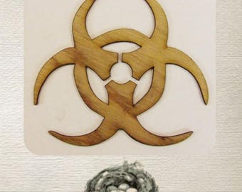 Bio Hazard Sign / Symbol (Small) Wood Cut Out -  Laser Cut