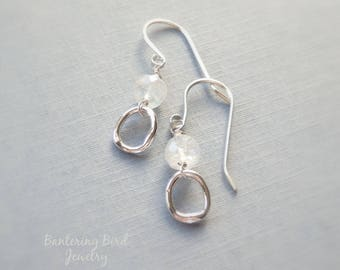 Small Moonstone Earrings with Fine Silver Drop and Tiny Grey Gemstone, Smoky Quartz, Sterling Silver Jewelry