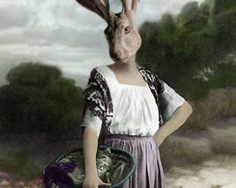 Jane Eare, Vintage Jack Rabbit, Anthropomorphic Rabbit, Whimsical Rabbit Art, Hare Art Print, Steam Punk, Unique Wall Decor, Photo Collage