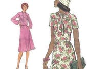 Very Easy Vogue Sewing Pattern 70s Spring Dress Loose Fit Long Short Sleeves Pussy Bow Tie Neck Belted Bust 34 Size 12