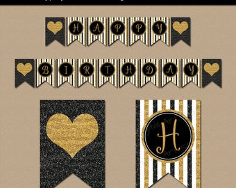 50th Birthday Decorations, 50th Party Banner, 50th Anniversary Banner Template, Anniversary Party, 50th Birthday Download, Black and Gold B4