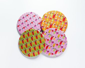 Drink Coasters, Tropical Drinks, Hostess Gift, Coasters, Green, Pink, Orange, gift for mom, Bright colors, Summer drink coasters (7743)