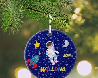 Personalized Kids Ornament - Astronaut Boy Girl Night Sky Rocket, Children Christmas Ceramic Circle Heart Snowflake Star