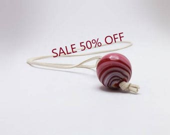 SALE 50% - ivory soft flat string with red and ivory handblown glass bead pendant