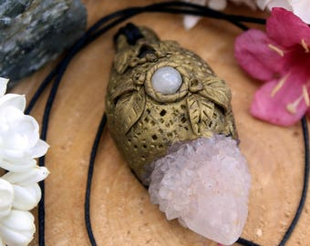 Gold Clay Pendant with Spirit Quartz and Rose Quartz Beads on Black Hemp Cord