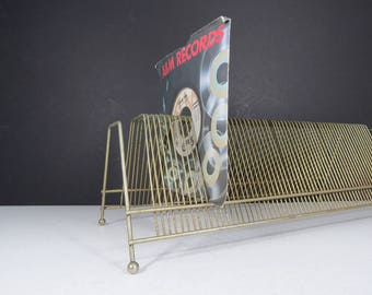 Vintage Wire Record Rack // Mid Century Modern Brass Finished Gold Metal LP  Vinyl Albums