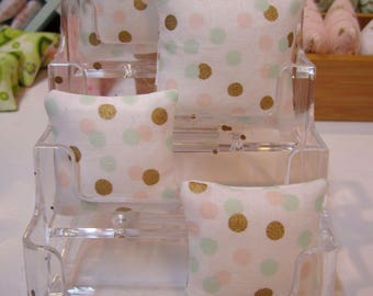 Miniature Pillows for use in 1:12th or 1/6th scale in modern White with Confetti dots in Gold, Mint, and Pink
