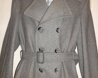 Mens M 40 Long Wool Coat Vintage Made in Canada Gray MacMor Mint Trench Military