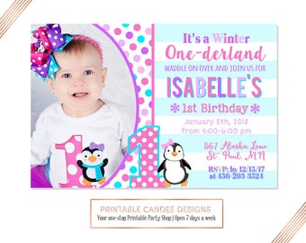 Penguin Birthday Invitation, Winter ONEderland Invitation, Penguin Party, First Birthday Invitation, Girl Penguin Birthday, Printable