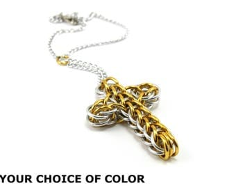 Classic Style Chainmail Cross Car Rear View Mirror Charm Ornament Decoration