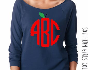 Apple Monogram Sweatshirt - Teacher Apple Design Off the Shoulder Tee - Graphic Raw Edge Neck Sweatshirt - Apple Monogrammed Teacher Shirt