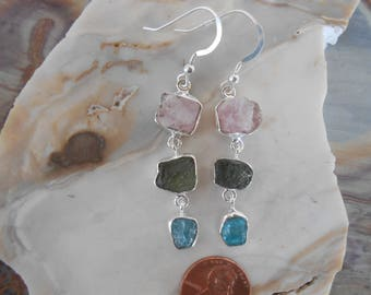 Kunzite Moldavite Apatite Earrings