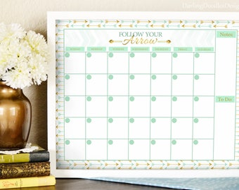 Mint and Gold - Arrows Calendar - Follow Your Arrow - Wall Calendar Print - Dry Erase Calendar - Gifts for Her - Organization - 16x20 Print