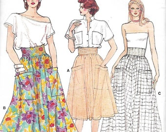 Vogue 8954 Misses Flared Skirt With Wide Waistband Sewing Pattern, Three Lengths, Size 12-14-16, UNCUT