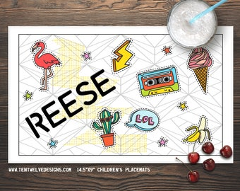 STICKERS Personalized Placemat for Kids - Children's Placemat, Personalized Kid's Gift, Fast Shipping - LOL, cactus, ice cream, stars