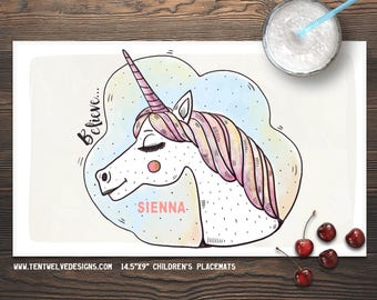 UNICORN Personalized Placemat for Kids - Children's Placemat, Personalized Kid's Gift, Fast Shipping - believe, unicorn, fairy, princess