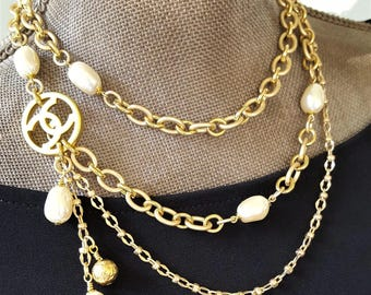 Iconic Designer Button Necklace long to short, mixed multi chain & Vintage Pearl Necklace Designer Button Jewelry veryDonna