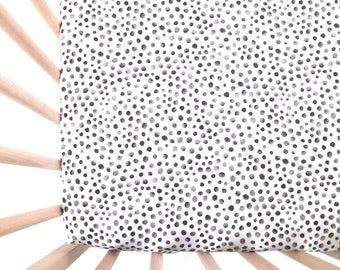 Crib Sheet Tiny Gray and Black Dots. Fitted Crib Sheet. Baby Bedding. Crib Bedding. Crib Sheets. Black Dot Crib Sheet.