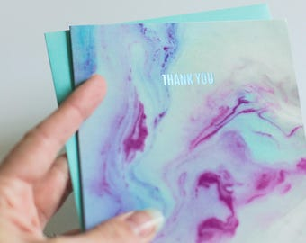Marble Thank You Card, Foil Card, Foil Thank You Card, Holographic Card, Holographic Thank You Card, Holographic Foil Card