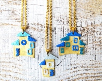 House necklace, Brass necklace, Doll house necklace, Tiny house pendant, Pendant on chain, Miniature house necklace