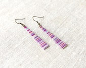 SALE - Long Ombre Earrings, Tribal Inspired, Wrapped in Cotton Thread, Ethnic Style