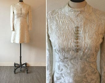 Faye 60s Dress| Vintage Ceil Chapman dress | 1960s silver and white brocade mini dress