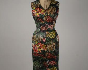 1970s Black Floral Dress