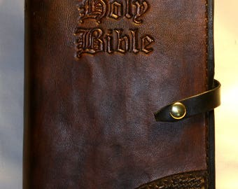 Black/Brown Leather Bible Cover. Includes Bible