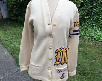 """1950s vintage letterman varsity cardigan """"Lavonne"""" size M/L"""
