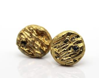 20% OFF SALE diamond earrings, black diamond earrings, gold earrings, diamond studs, organic jewelry, gold stud earrings, gold studs, black